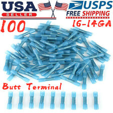 100Pcs Heat Shrink Waterproof Wire Connectors Blue 14-16Awg Butt Seal Terminals