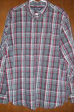 Chaps XL/TG Gray Plaid Long Sleeve Button Down Shirt Casual 100% Cotton