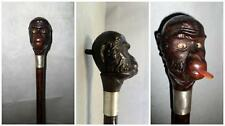 Antique 1909 Hallmarked Novelty Comedic Gadget Cane-Monkey - Moving Eyes+ tounge