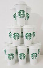 More details for starbucks coffee tea cup white plastic reusable travel mug beaker tumbler 437ml