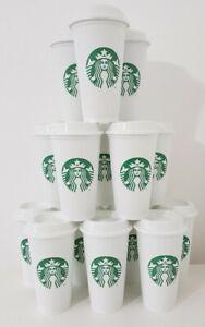 Starbucks Coffee Tea Cup White Plastic Reusable Travel Mug Beaker Tumbler 437ml