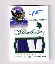 CORDARRELLE PATTERSON 2014 FLAWLESS EMERALD AUTO NAME PLATE PATCH  # 5/5 VIKINGS