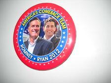 "Romney-Ryan 2012- America's comeback team political pin - 3""pin a"