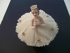 """1950's/60's Ballerina Figurine{ w/6 Layers of Fired net Lace-6"""" H x 8 1/2"""" Dia."""