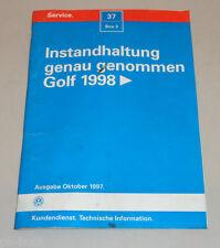 Werkstatthandbuch Instandhaltung genau genommen VW Golf 4 Bora Stand 10/1997