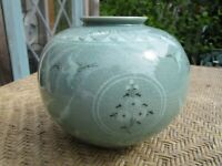 "Vintage Korean Stoneware Vase Hand-Painted w/Cranes & Clouds Signed 5"" Tall"