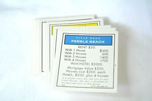 Golf edition Monopoly board game replacement part pieces - property deeds