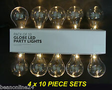 4 x 10 Piece Large LED Clear Festoon / Party Globe String Light Kit