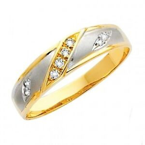 14K Two Tone Gold .18 Ct Simulated Diamond Wedding Band Men's Ring