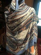 Vintage Blue Scarf Cotton Paisley Wrap