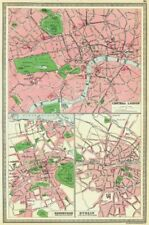 UK. Central London; Edinburgh; Dublin 1907 old antique vintage map plan chart