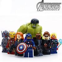 8pcs/lot Avengers Hulk Ironman Super Hero Models & Building Blocks Toys