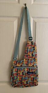 Kavu Sling Bag CrossBody Adjustable Strap Geometric Teal Multicolor Excellent