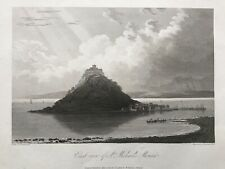 1813 Antique Print; St Michael's Mount, East View, Cornwall after Farington