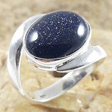 Blue Goldstone Ring Oval Blue Ring 925 sterling silver ring Handmade Her Gift