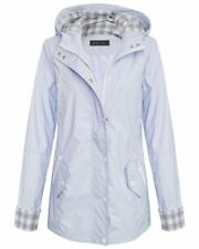 Womens Ladies Shower Proof Contrast Check Girls Rain Mac Pastel Jacket Coat Blue XL