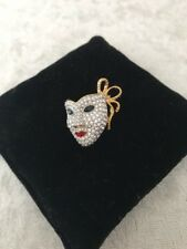 Authentic SWAROVSKI Swan Logo Harlequin Mask Pin - 2001 - EUC