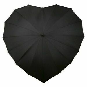 Heart Shape Umbrella with Rain & Sun UV protection - Wedding - Windproof - Black