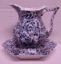 Vintage Enesco Japan Blue & White Mini Pitcher and Bowl Set