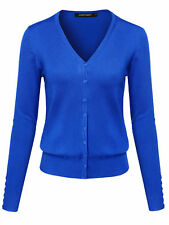 Fashionoutfit Women's Basic Solid V Neck Cuff Button Sweater Cardigan Layer Top Blue Regular XL