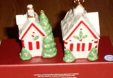 Lenox Christmas GINGERBREAD HOUSES Salt & Pepper SHAKERS 2004 Retired MIB Gift