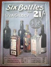SIX BOTTLES Gilbey Liquor Tin Sign Wall Art,Whiskey,Gin,Brandy,Port Print Ad