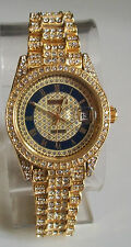 Men's Designer Style hip hop CZ Bling clubbing Gold finish with date watch