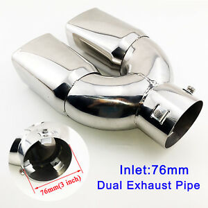 Universal 76mm 3 Inch Dual Outlet Steel Rear Muffler Exhaust Tail Tip Pipe Cover