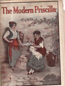 1913 Modern Priscilla August - IRISH CROCHET SAILOR COLLAR; APRONS; BAGS; FROCKS