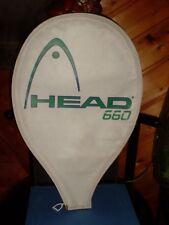 """HOUSSE pour RAQUETTE de TENNIS, """" HEAD 660 """", blanche, 43 x 28 cms, fermée zip"""