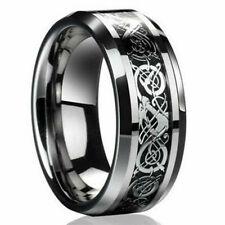 Moda Plateado Celta Dragón de Titanio Acero Inoxidable para Hombre Anillos de boda