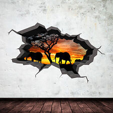 FULL COLOUR ELEPHANT SAFARI CAVE CRACKED 3D WALL ART STICKER DECAL MURAL 1