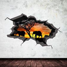 FULL COLOUR ELEPHANT SAFARI CAVE CRACKED 3D WALL ART STICKER DECAL MURAL 1