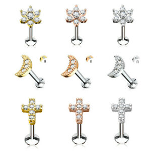 Labret Helix Tragus Crystal Flower Cross Moon Cartilage Surgical Steel Rose Gold