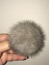 "Real Mink Fur Gray 3 1/2"" Diameter Removable PomPom Beret,Beanie,Baseball Cap"