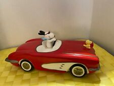 Vintage Willitts Peanuts Snoopy Ceramic Corvette Music Box-Pre-Owned