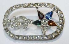 broche ancienne bijou vintage cristal couleur et diamant couleur argent 2459