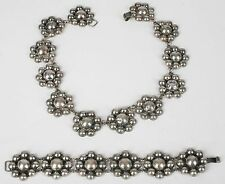 bracelet set Mexico, Mexican silver, 1950's Old flower sterling necklace & link