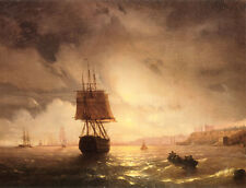 Aivazovsky Il porto di Odessa sul Mar Nero riproduzione quadro olio tela dipinto
