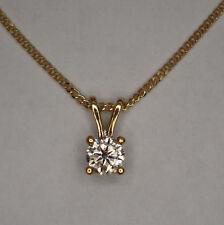 9CT YELLOW GOLD 1/10CT ROUND BRILLIANT CUT DIAMOND 4 CLAW PENDANT + CHAIN 0.10ct