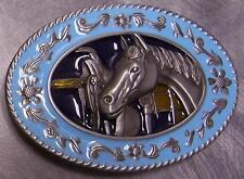 Pewter Belt Buckle animal Horse Head and Saddle NEW