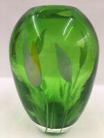 """Vintage Hand Blown Art Glass Vase Deep Green White Calla Lilies Murrini 8-1/2"""""""