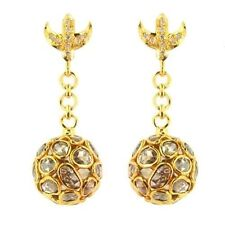 7.3Ct Rosecut Diamond 14k Solid Yellow Gold Dangle Earrings Fine Vintage Jewelry
