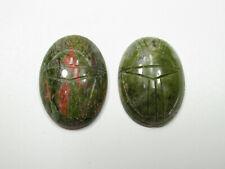 25X18mm Scarab Cabochons Epidote Natural Stone Beetle Cameos Egyptian Symbols