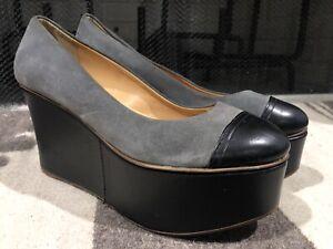 Antropologie Leifsdottir Platform Shoes sz 39 Black Gray Suede Leather