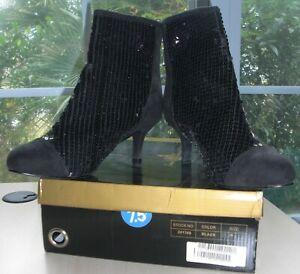NEW 7.5 W JOAN BOYCE BLACK SEQUIN & SUEDE ANKLE BOOTS BOOTIES HEELS w Zipper