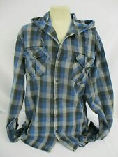 ZARA Young - Blue & Black Check Hooded Shirt - Boys - Size XL - Cotton