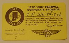 Rare Vintage 1972 Indianapolis Motor Speedway Indy 500 FESTIVAL CORPORATE Ticket