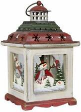 Christmas Weihnachtliche Holzlaterne mit schönen Motive für Kerzen Teelicht 28cm