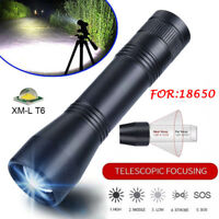 T6 Tactical Waterproof LED Flashlight Torch Zoomable 5Mode For 18650 Battery HOT